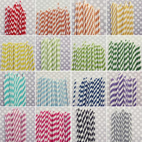 Striped Straws Paper Striped Straws